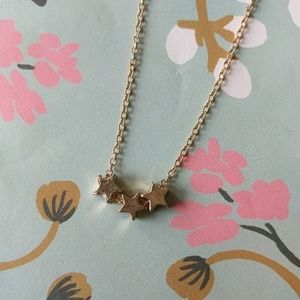 Nwot dainty gold triple star charm necklace